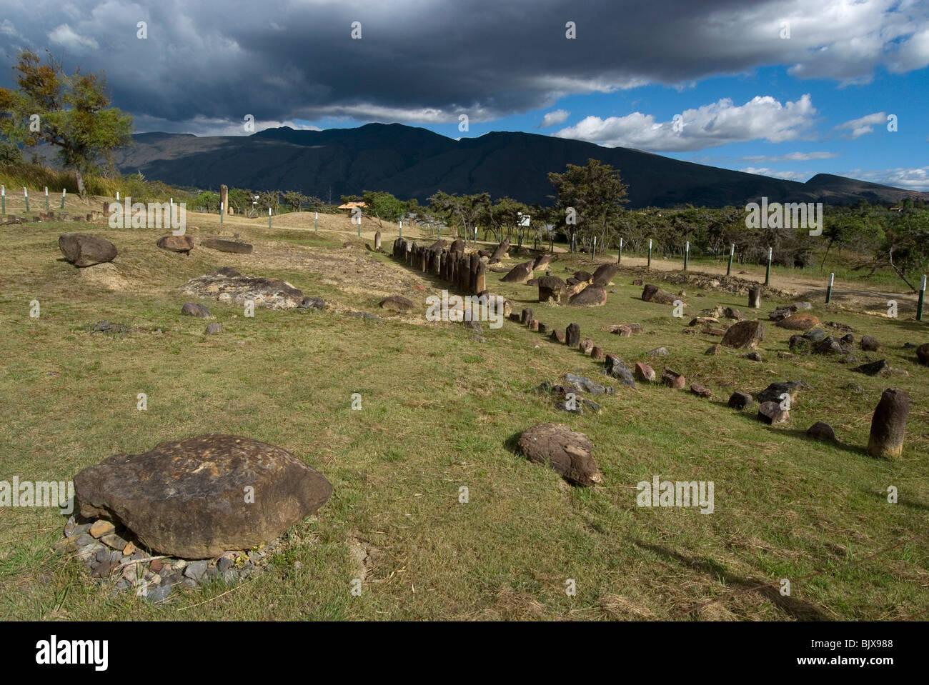El Infiernito, observatory of the pre-Colombian Muisca civilisation,  near Villa de Leyva, Colombia. - Stock Image
