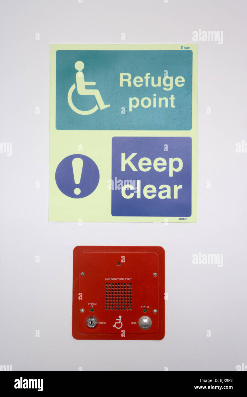 emergency disabled call point and refuge point in a modern building - Stock Image
