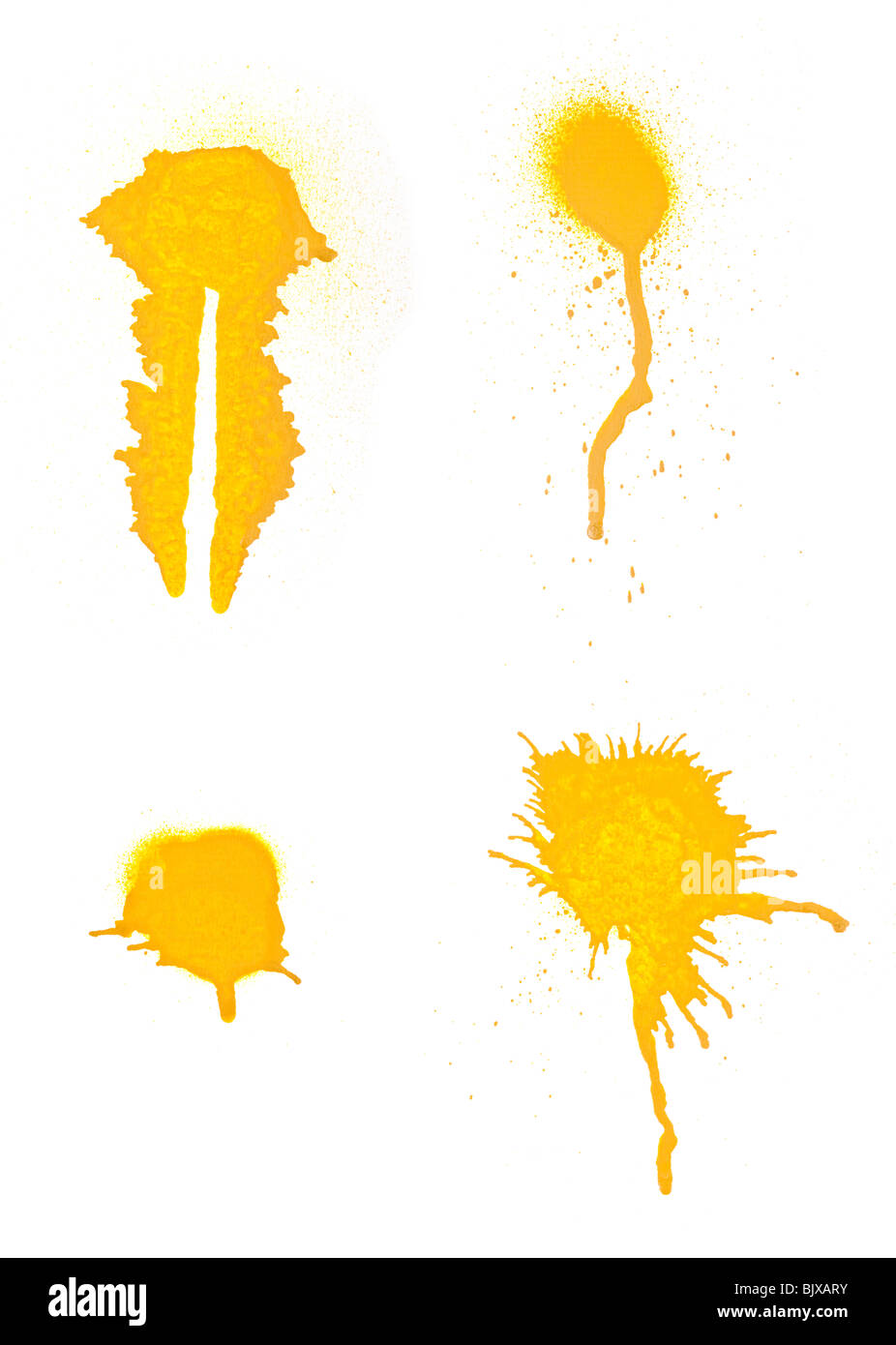 Collection of grungy high resolution spray paint strokes for use with designs. Isolated on white background. - Stock Image