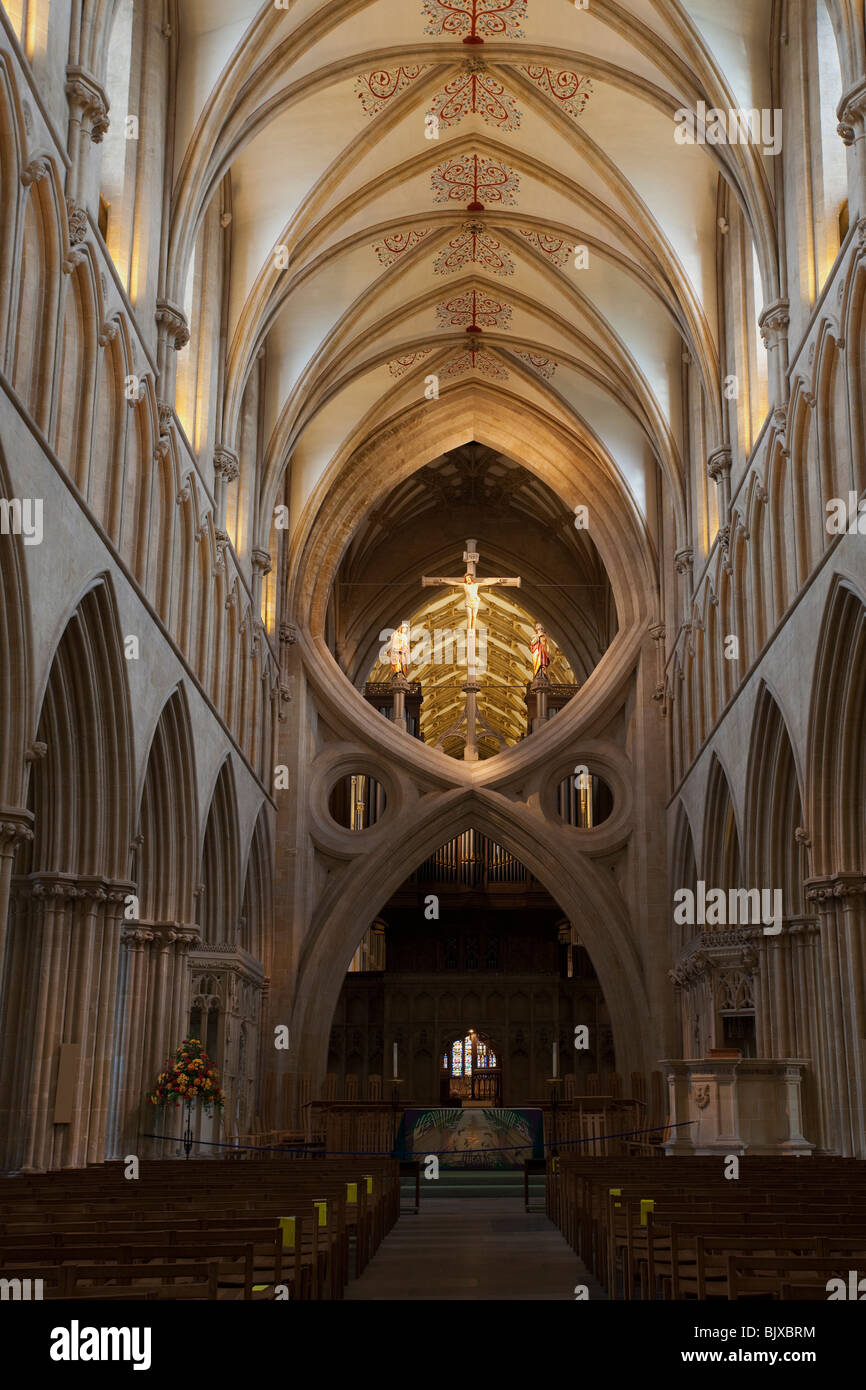 Scissor arches and nave interior Wells Cathedral Somerset England UK United Kingdom GB Great Britain British Isles - Stock Image