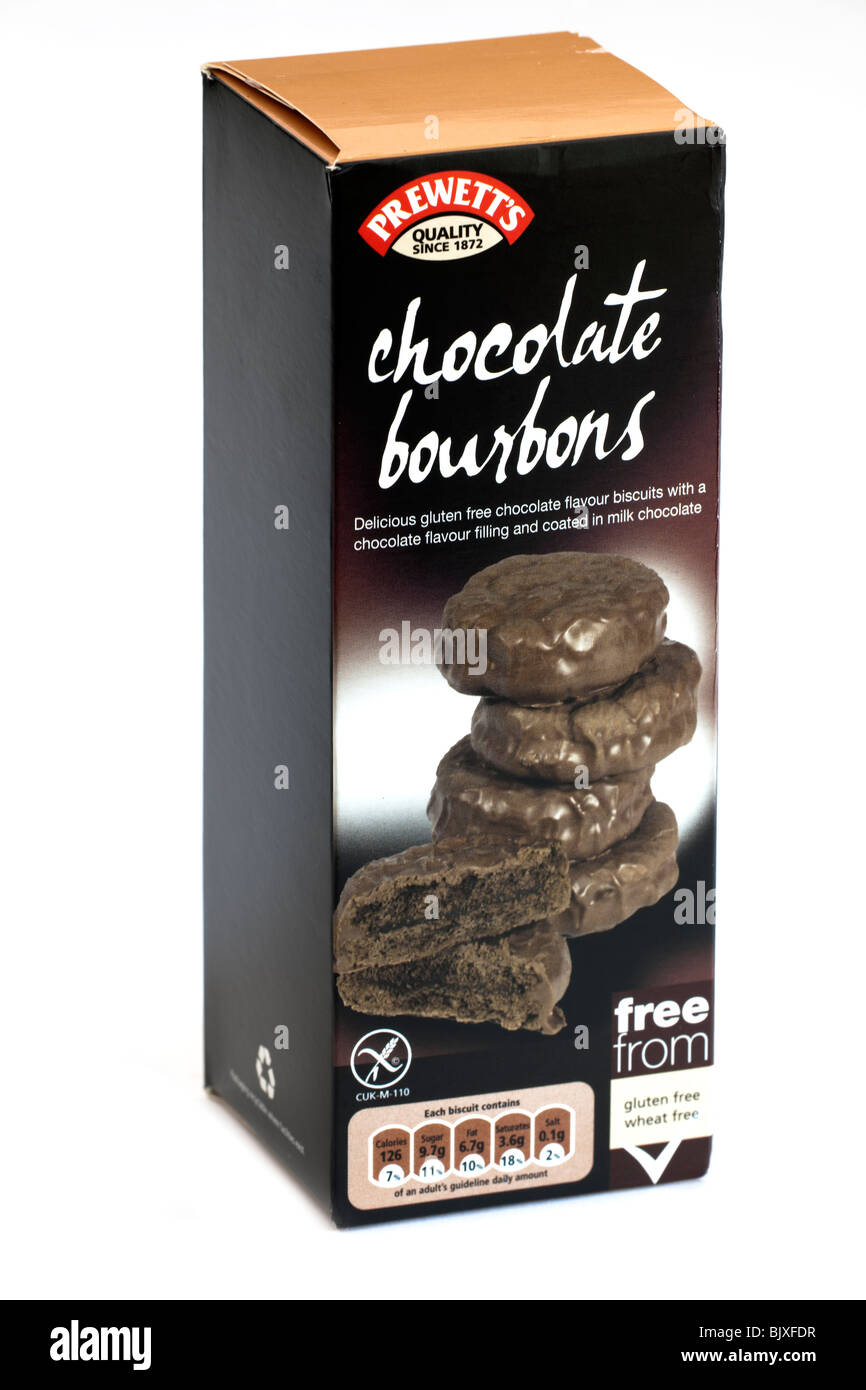 Box of Prewett's chocolate bourbons biscuits - Stock Image
