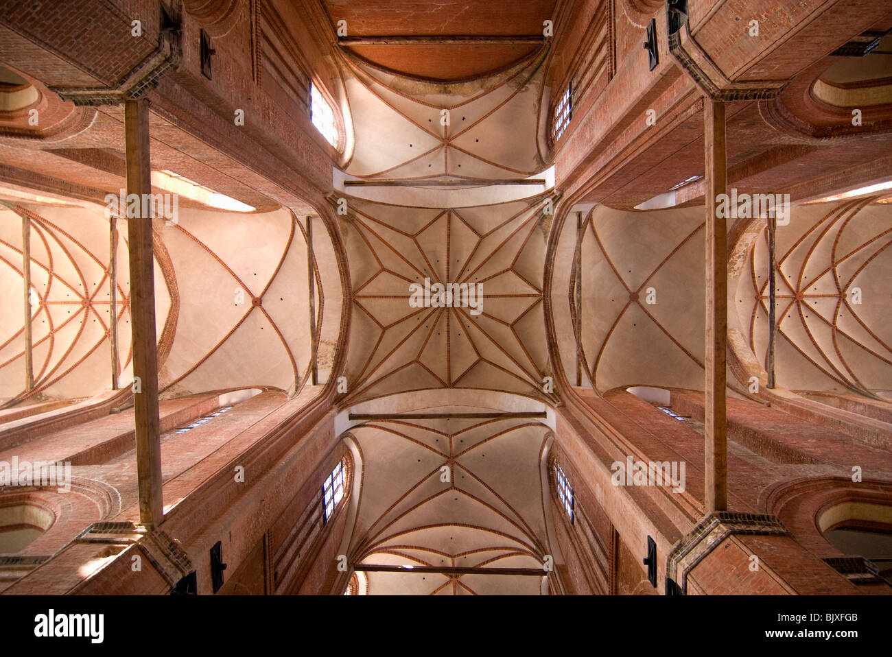 Vaulted ceiling of St. George´s Church in Wismar, Mecklenburg-Western Pomerania, Germany. Stock Photo