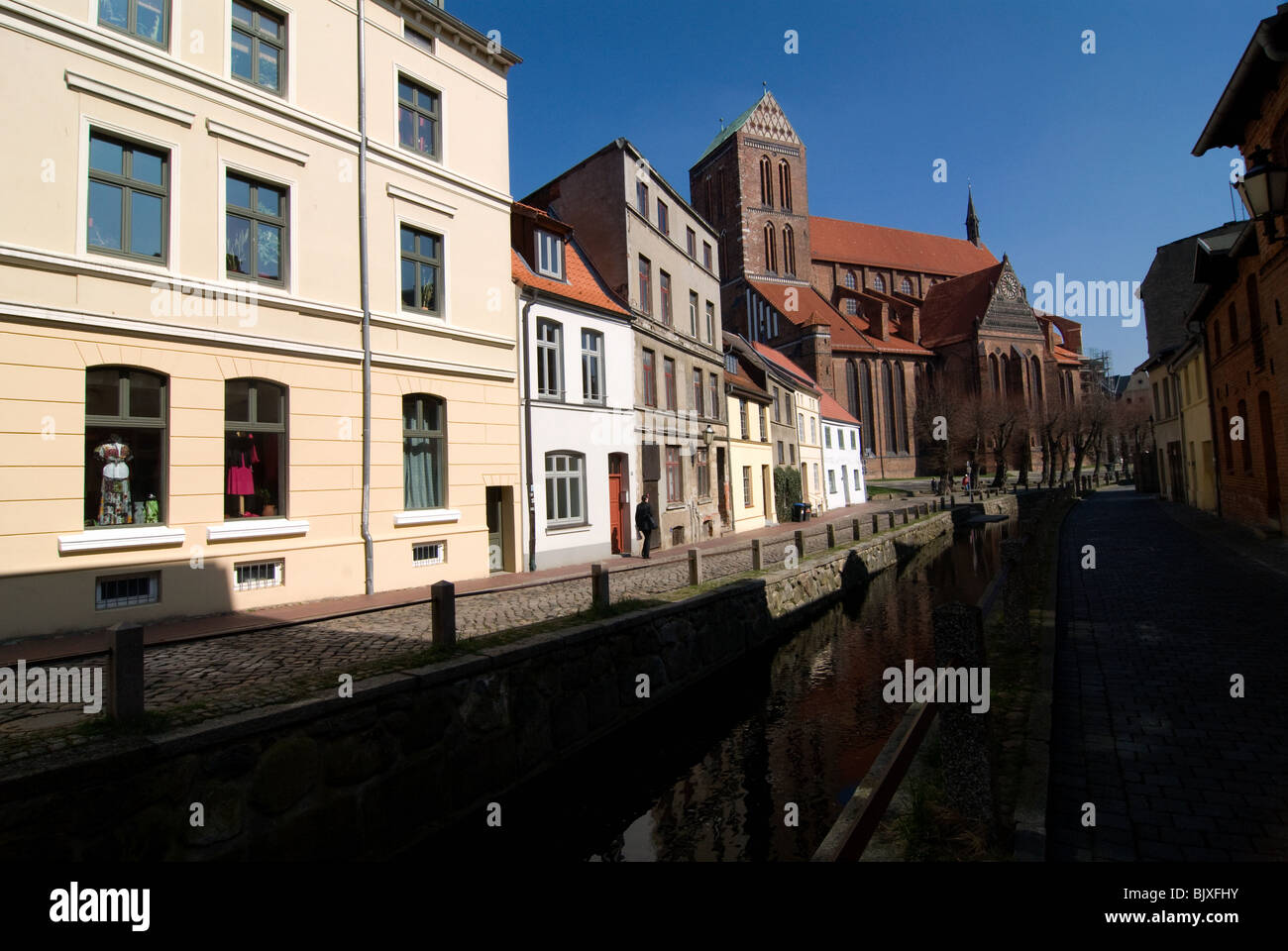 Historic buildings in Wismar, Mecklenburg-Western Pomerania, Germany. - Stock Image