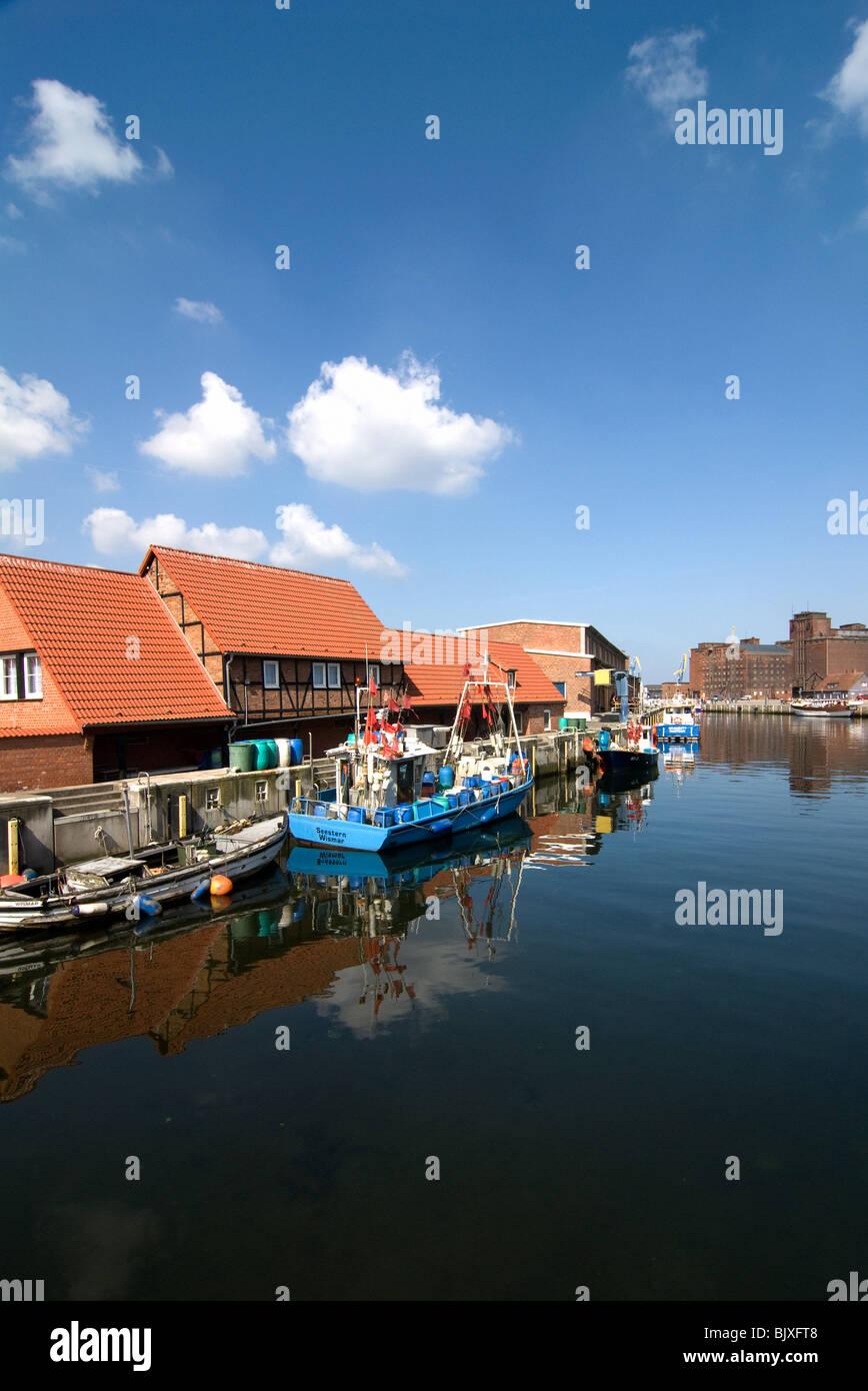 Old port of Wismar, Mecklenburg-Western Pomerania, Germany. - Stock Image