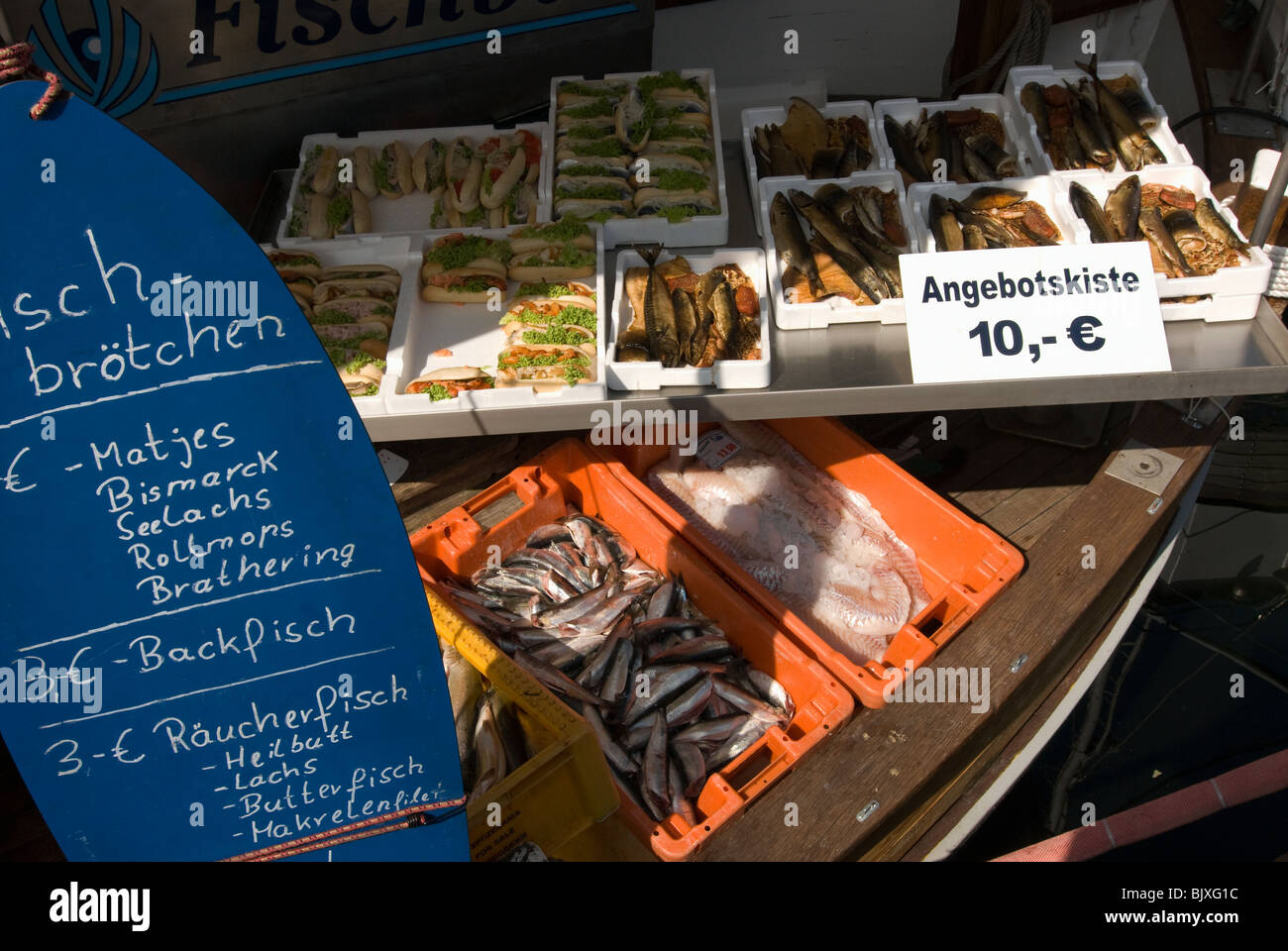 Fish selling in the olp port of in Wismar, Mecklenburg-Western Pomerania, Germany. - Stock Image