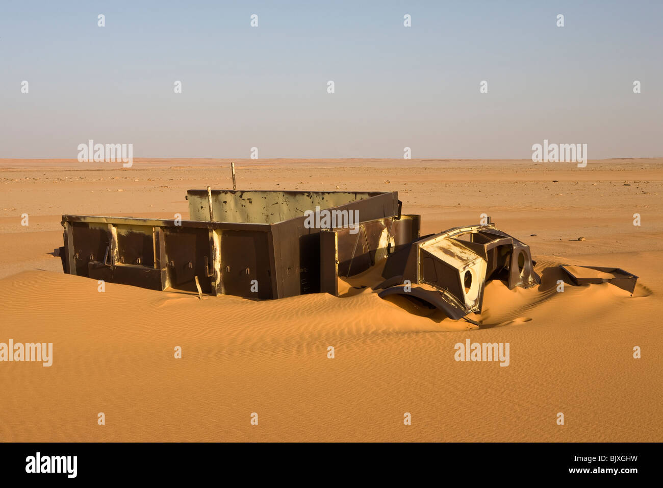 Abandoned Ford 30 CWT CMP truck from 1941/42 era sinking in the sand of the Western Desert, Egypt - Stock Image
