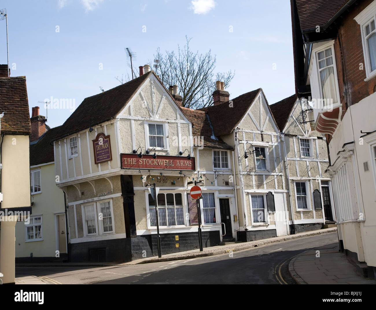 The Stockwell Arms pub, fourteenth century origins timber framed building where Daniel Defoe once lived. Colchester, - Stock Image