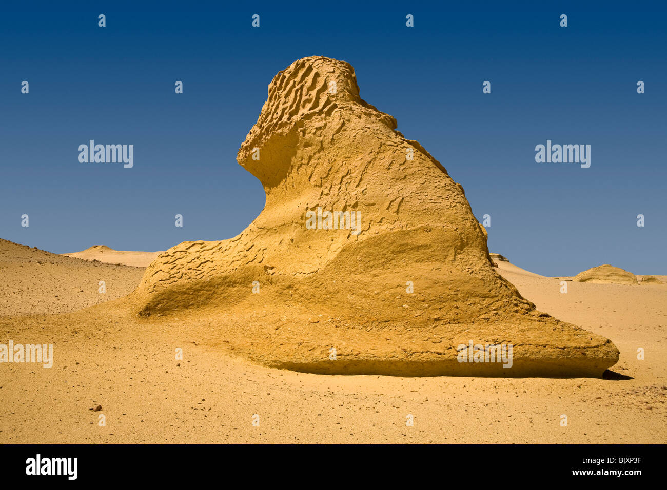 Shot of landscape  showing wind erosion in the Valley of The Whales, Wadi El-Hitan, Western Desert of Egypt - Stock Image