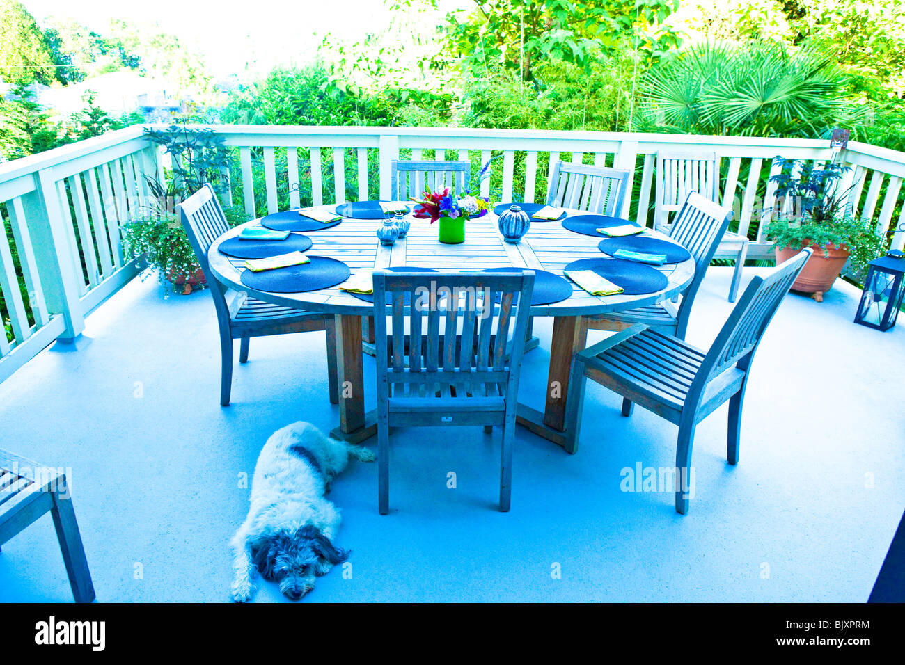 outdoor table set for dinner Stock Photo