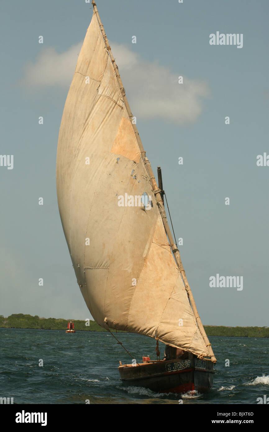 A dhow in Lamu Stock Photo