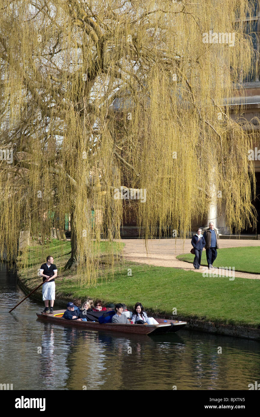 Punting on the River Cam by Trinity College, Cambridge UK - Stock Image