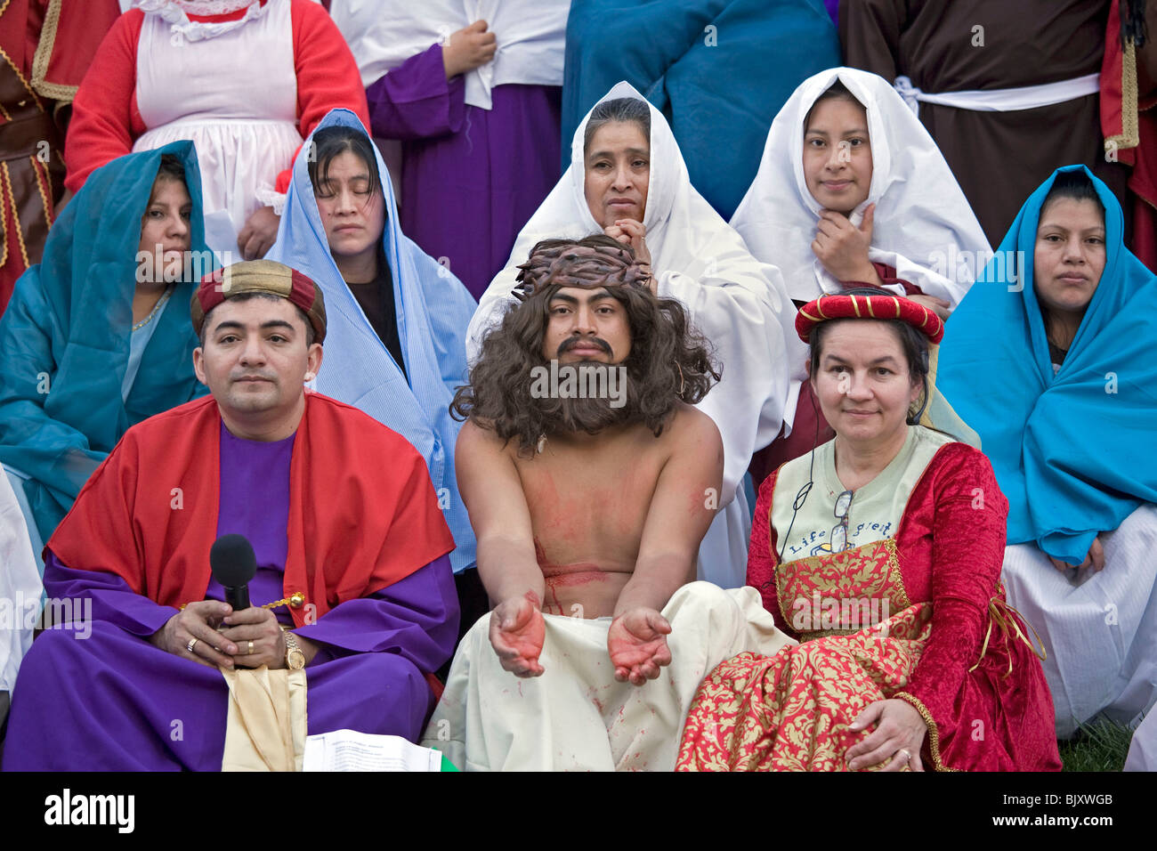 Reenactment of the Passion of the Christ on Good Friday by Christian members of the Hispanic community in Cookeville - Stock Image