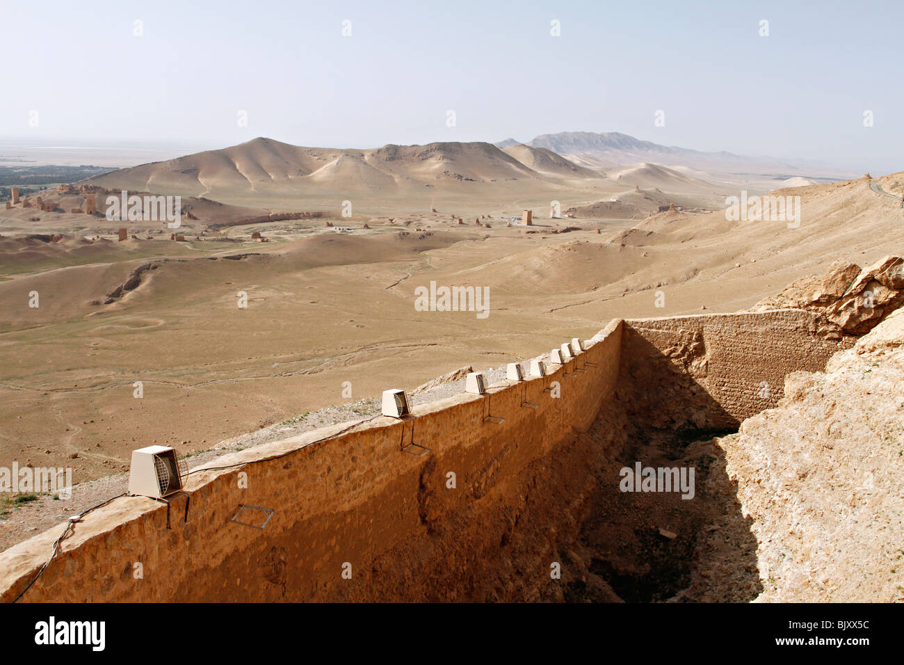View of the Valley of the Tomb from Fakhreddin Almaan castle in Palmyra, Syria. - Stock Image