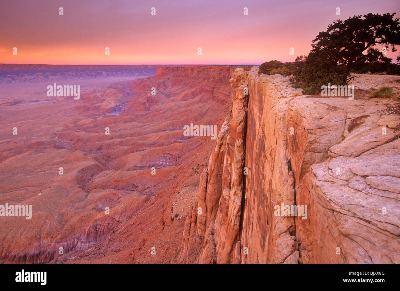 Rim of Vermilion Cliffs at sunrise on Paria Plateau, Vermilion Cliffs National Monument, west of Lee's Ferry, - Stock Image
