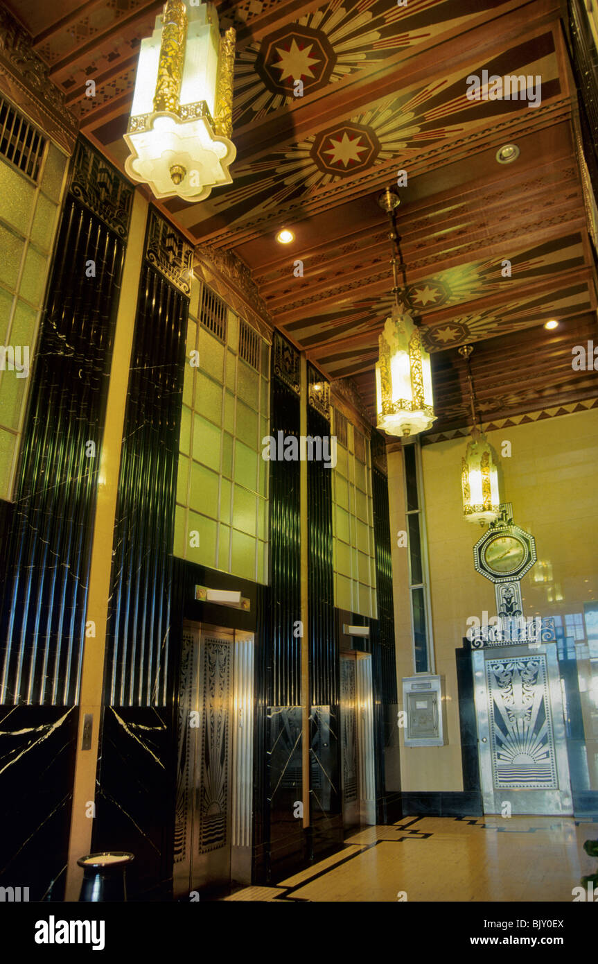art deco elevator lobby at historic lone star gas building