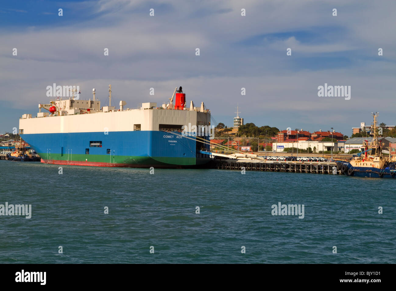 Comet Ace, RORO vehicle Cargo ship registered in Panama docked in Fremantle, Western Australia - Stock Image
