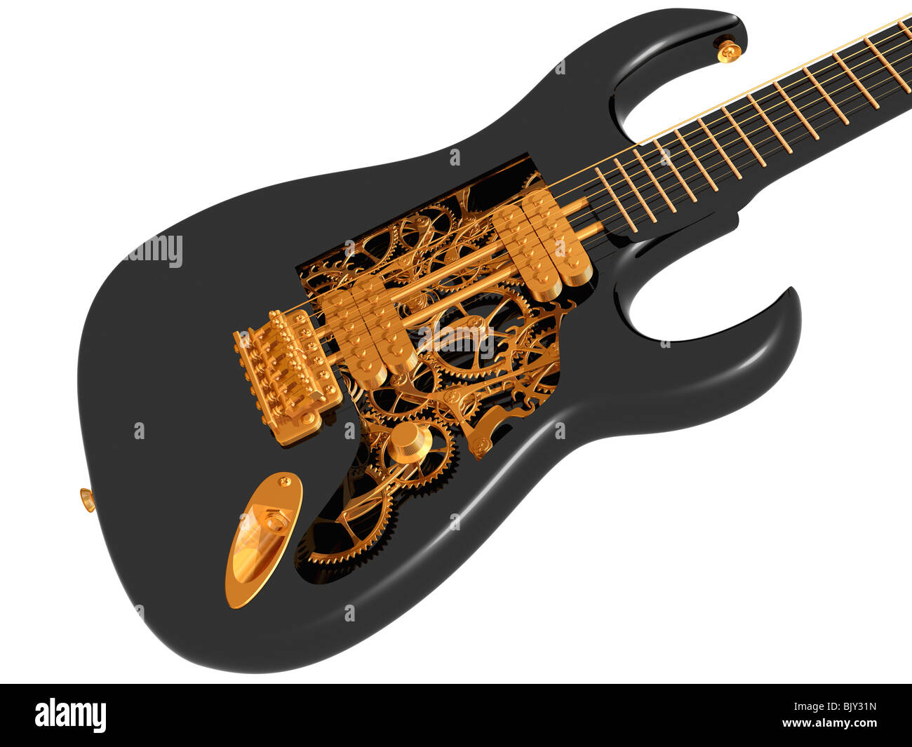 Original customized guitar with cogs and gears - Stock Image