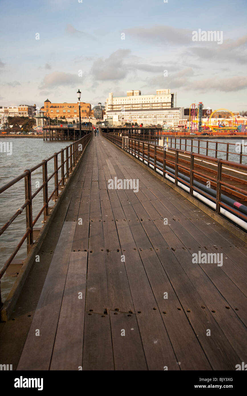Southend on sea pier walkway with foreshore in background - Stock Image