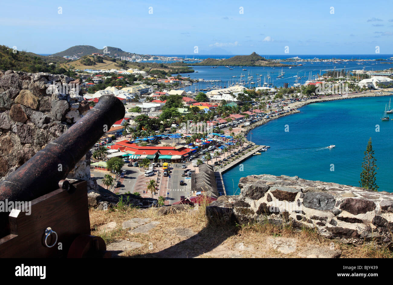 Marigot Bay In St.Martin, view from Fort St.Louis, French Caribbean - Stock Image
