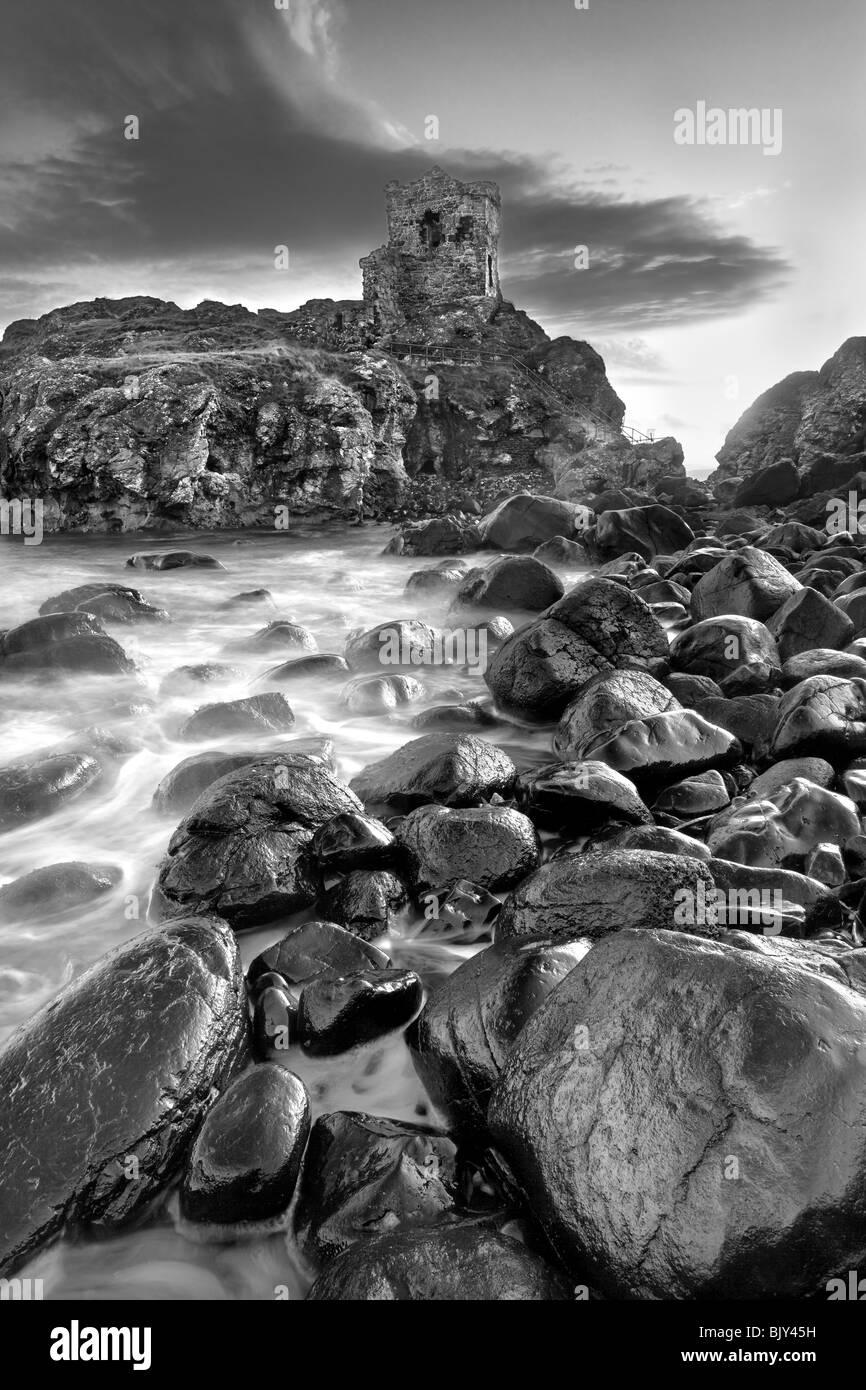 Kinbane Castle on Kinbane Head, County Antrim - Stock Image