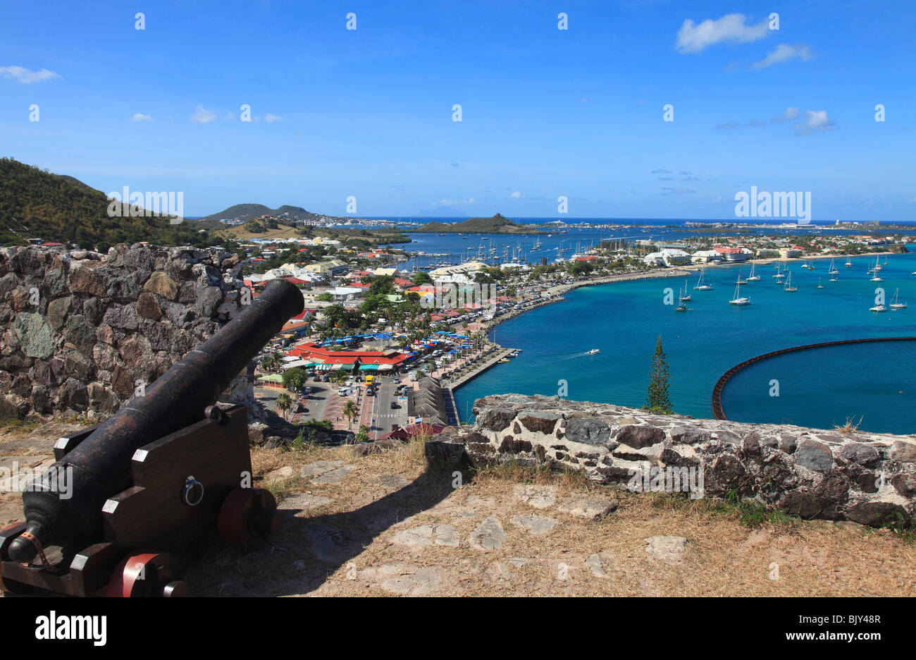 Marigot Bay In St.Martin , from Fort St.Louis, French Caribbean - Stock Image