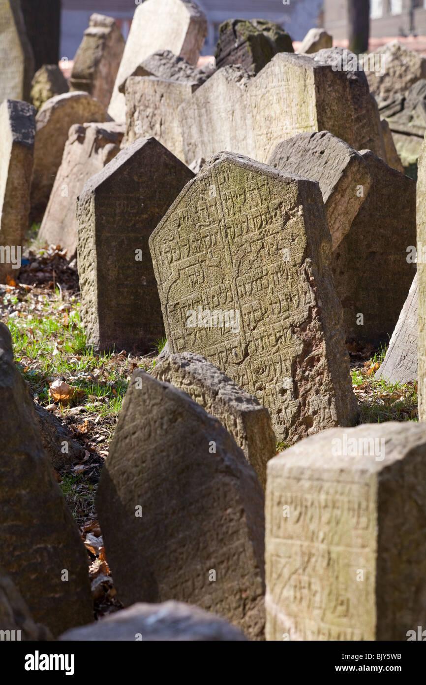 detail of tombstones, Old Jewish Cemetery, Josefov,, Prague, Czech Republic - Stock Image