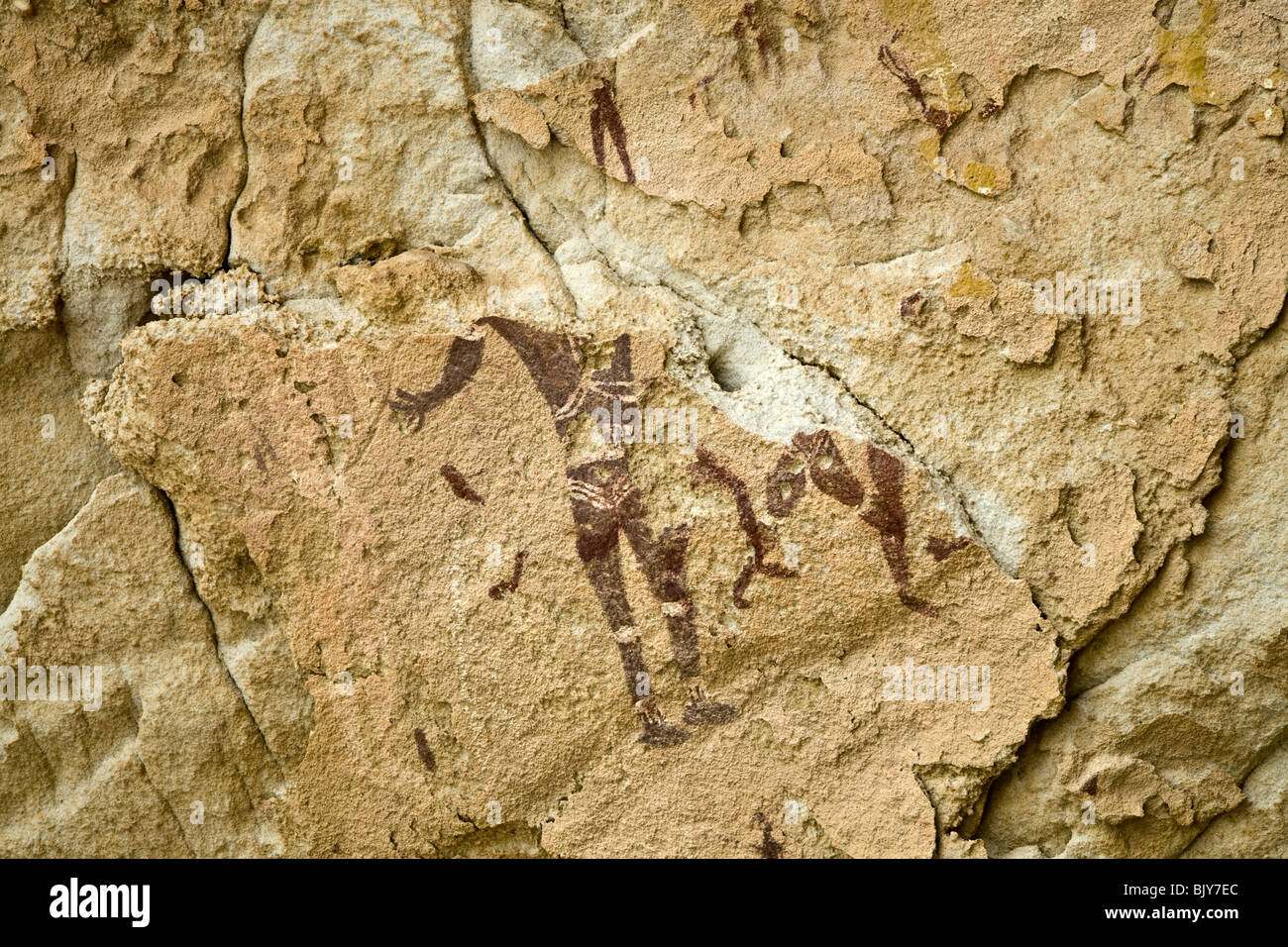 Rock art in the Cave of Swimmers near Cave of the Archers, Wadi Sura area of Gilf Kebir region of Egypt's Western - Stock Image