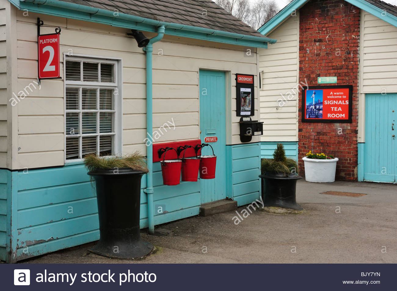 Attractive buildings on Grosmont Station on North Yorkshire Moors Railway Stock Photo