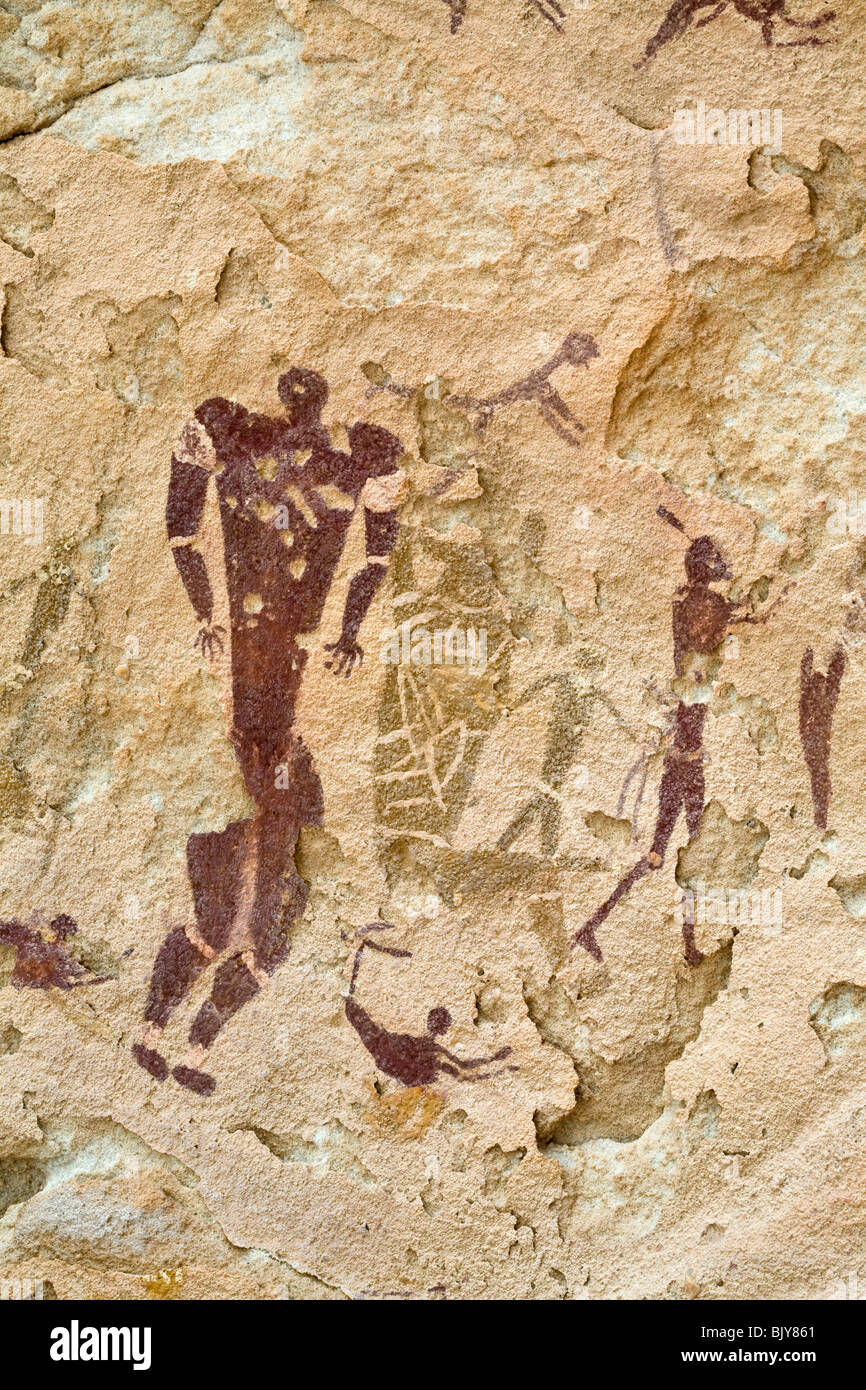 Rock art in the Cave of Swimmers near Cave of the Archers, Wadi Sura area of Gilf Kebir region of Egypt's Western Stock Photo