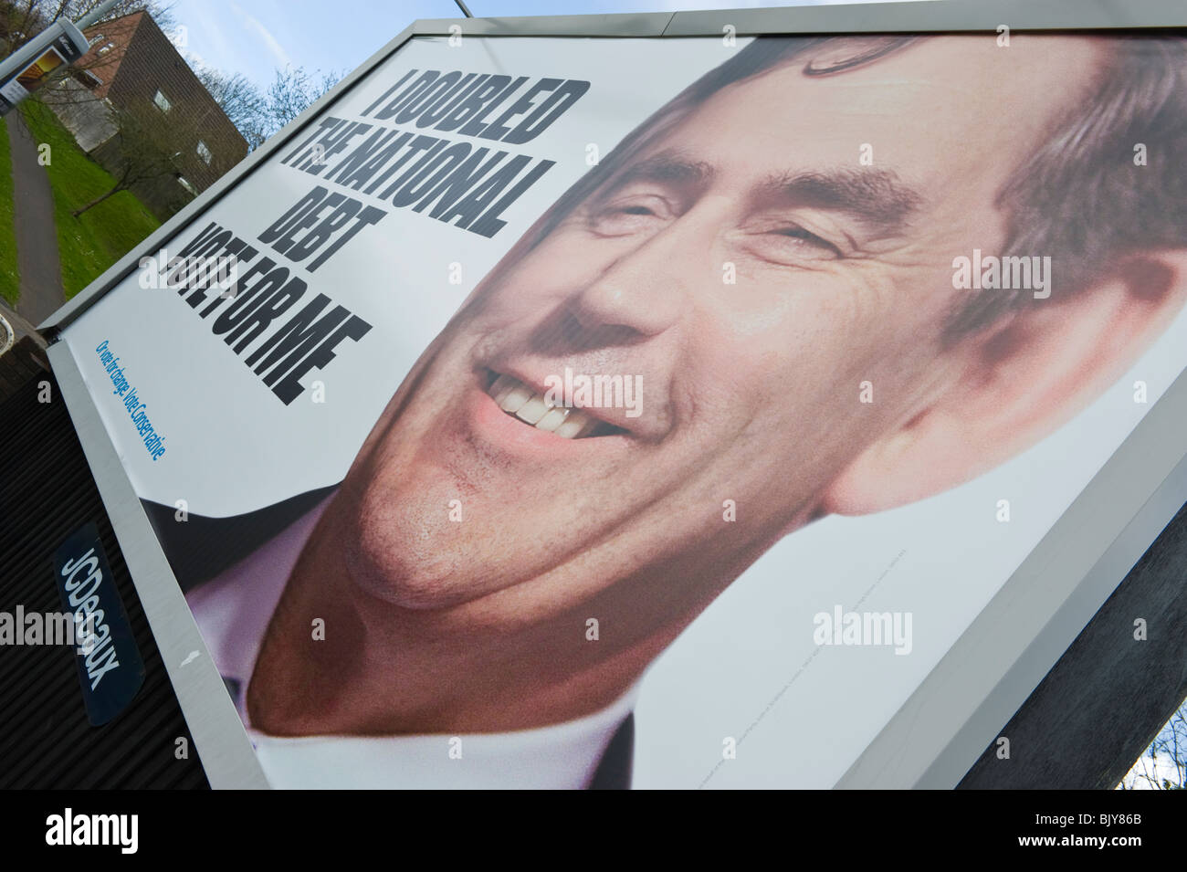 Conservative Party 2010 General Election 48 sheet billboard poster featuring Gordon Brown at JCDecaux site on roadside - Stock Image