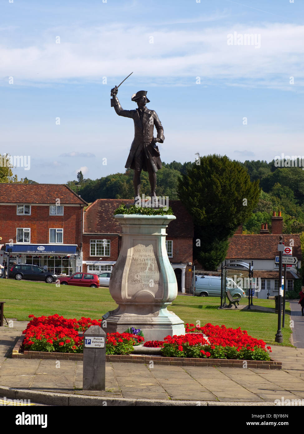 Statue of General James Wolfe on the green, Westerham, Kent, England, UK - Stock Image