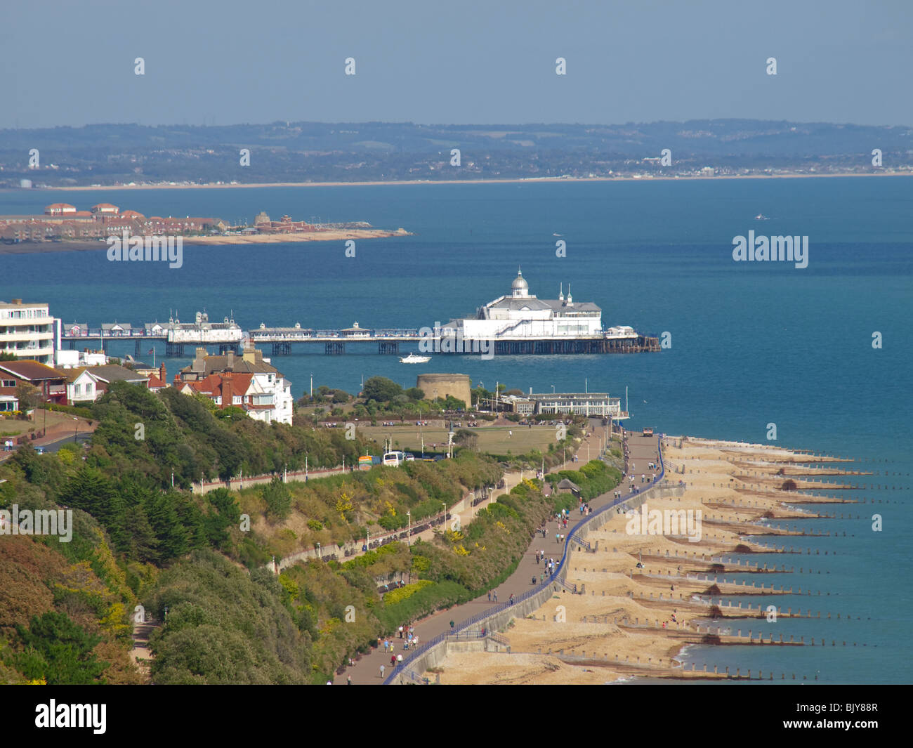 View of Eastbourne Seafront and Pier from South Downs Way , Sussex, England, UK Stock Photo