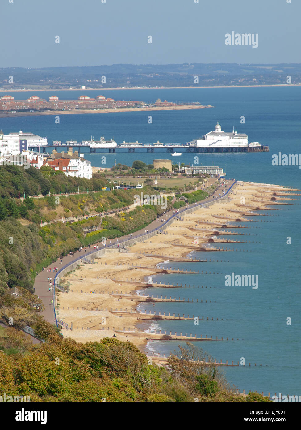 View of Eastbourne Seafront and Pier from South Downs Way, Sussex, England, UK Stock Photo