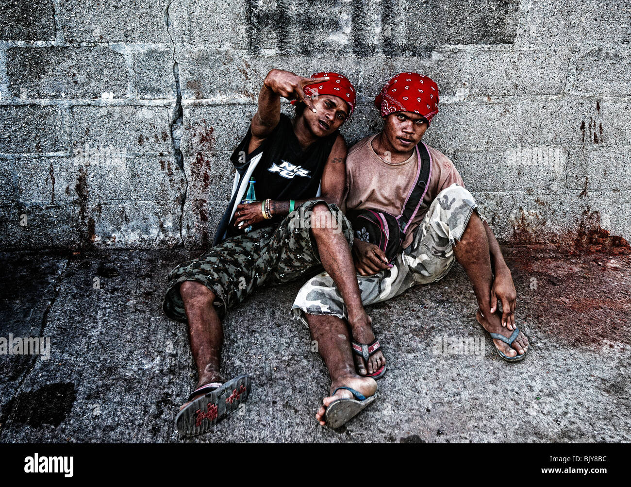 Street boys, Honiara, Solomon Islands - Stock Image