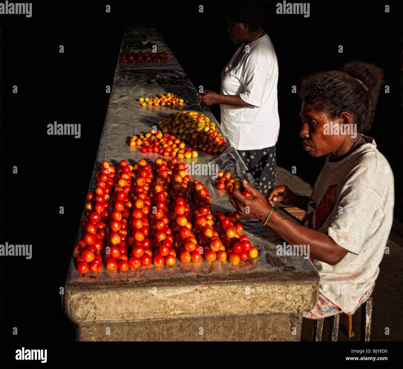 Tomato sellers, Honiara market, Solomon Islands - Stock Image