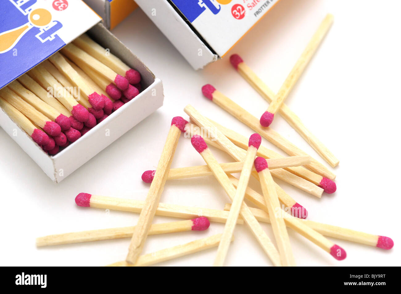 Box of Matches and Matches scattered - Stock Image