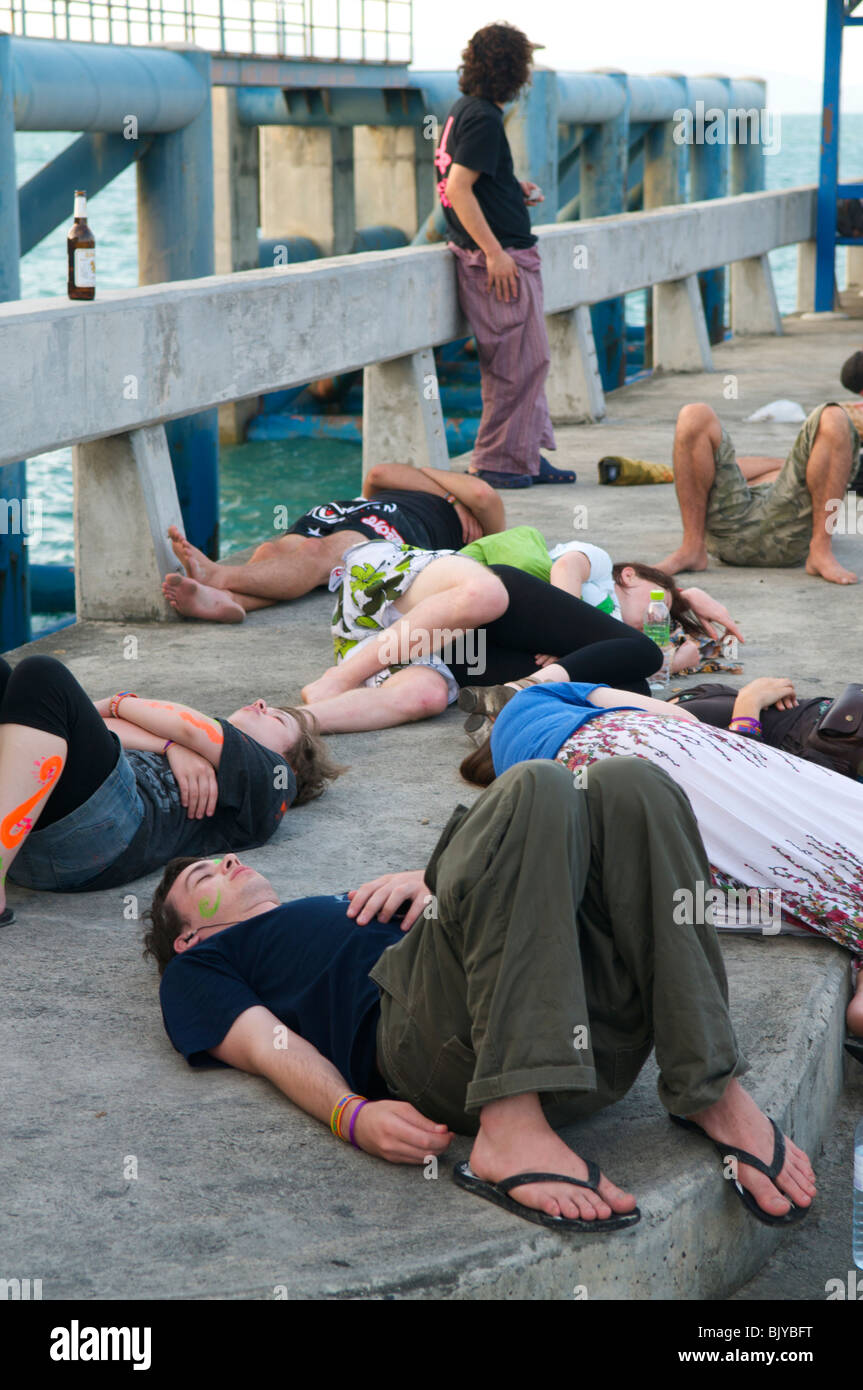 The morning after the full moon party in Koh Phangan Thailand - Stock Image