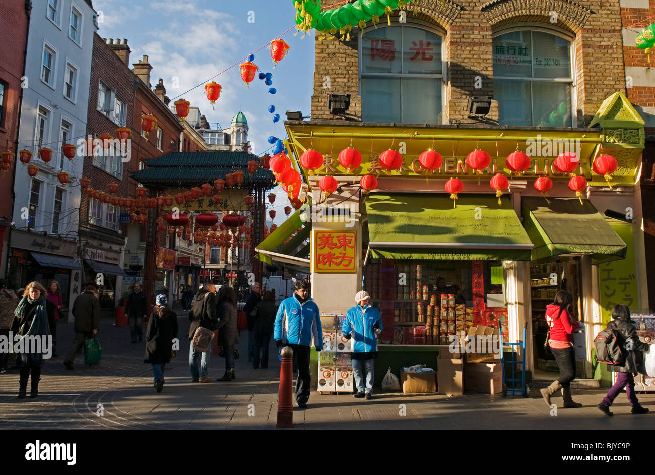 Lantern decoration for Chinese New Year 2010 in China Town, London England UK - Stock Image