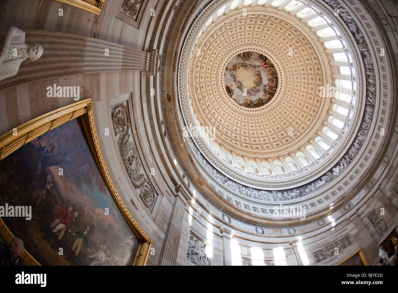 Rotunda and interior of the dome of the U.S. Capitol. - Stock Image