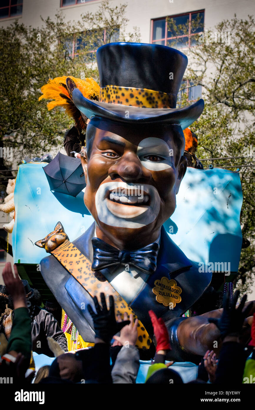 Ambassador of Zululand, Mardi Gras, New Orleans, Louisiana - Stock Image