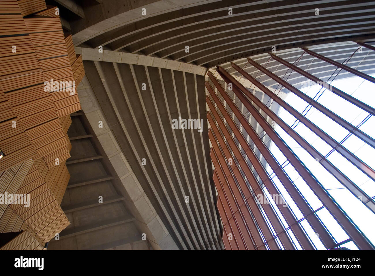Sydney Opera House Roof And Facade From Inside Stock Photo