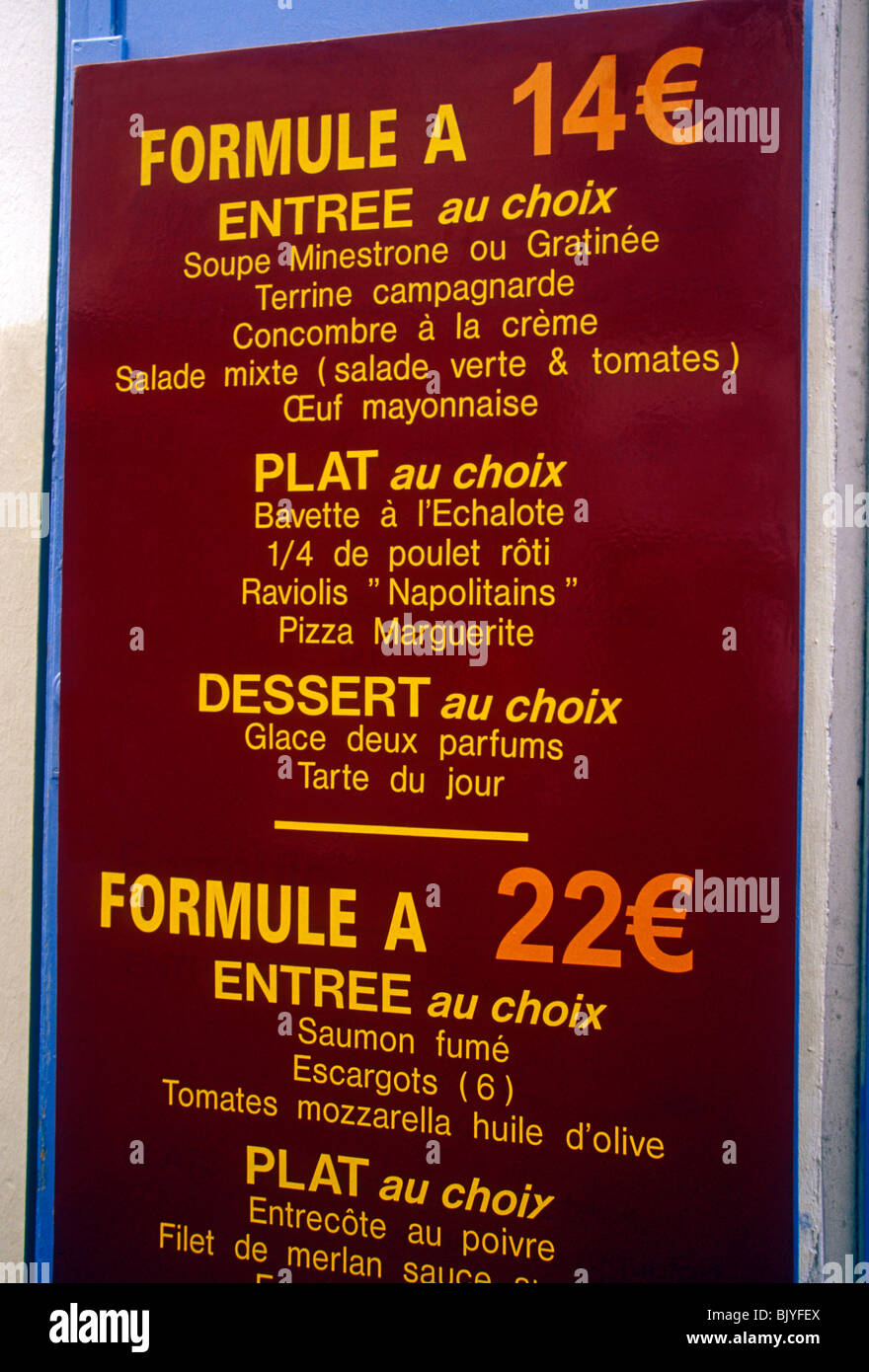price in euros, sign, menu, french restaurant, french food and drink