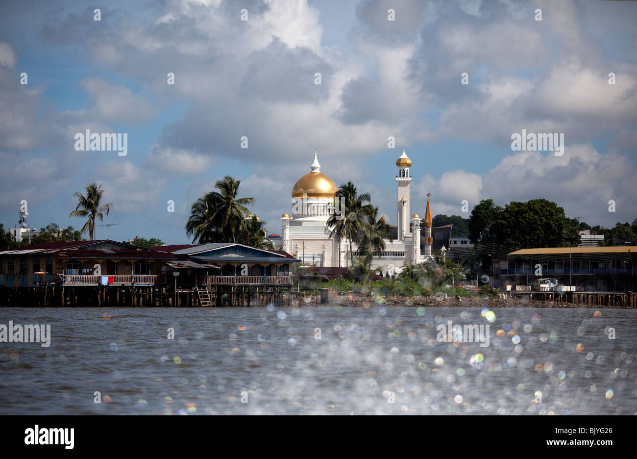 Bandar Seri Begawan Brunei upriver showing the Sultans Palace on fast water boat. - Stock Image