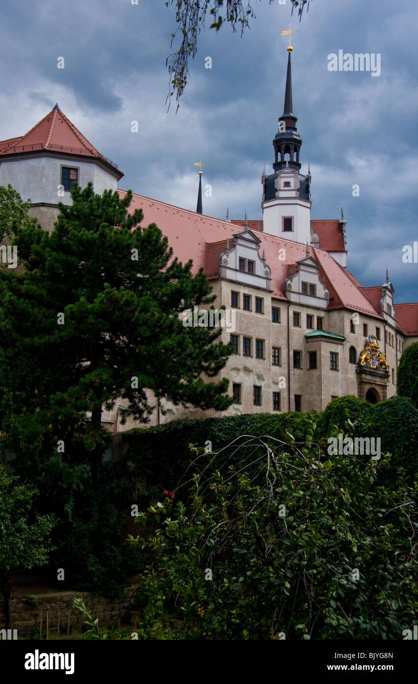 Schloss Hartenfels under a stormy sky in Torgau Eastern Germany Stock Photo