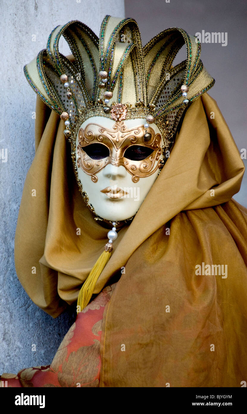 Costumed participant for Carnival in Venice, Italy - Stock Image