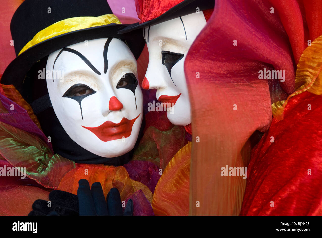 Venice, Italy, Carnival participants costumed as clowns - Stock Image