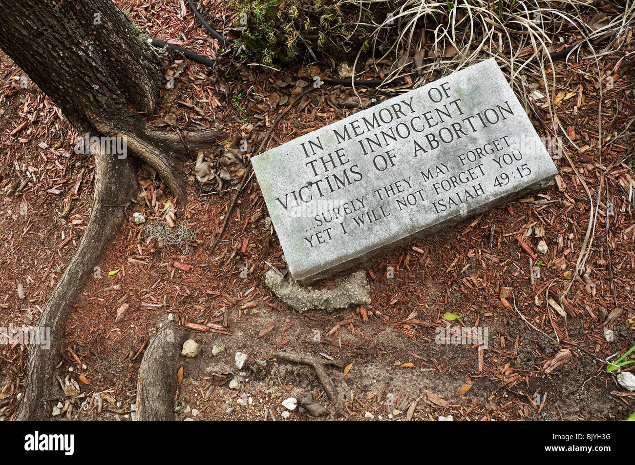 abortion grave marker in garden of church - Stock Image