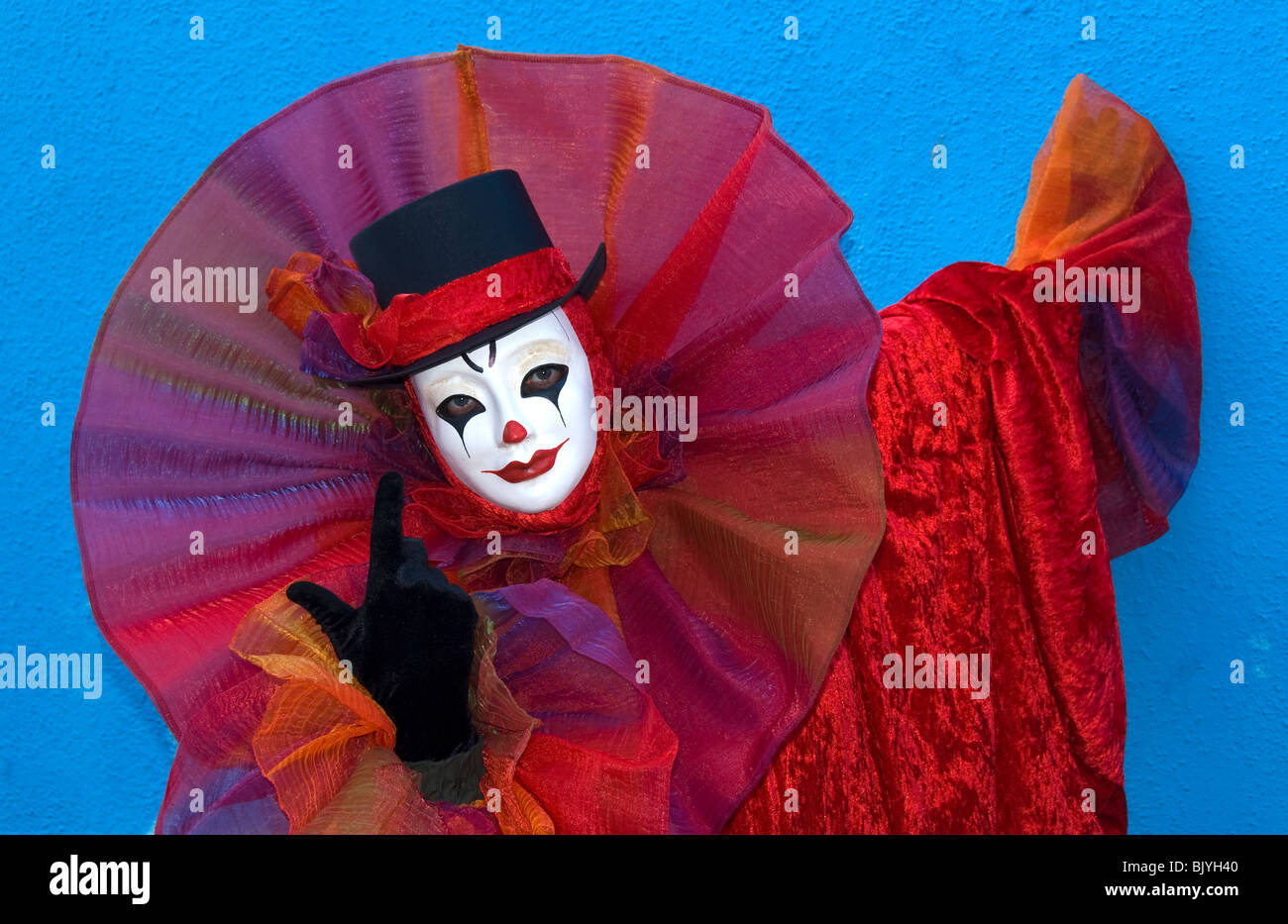 Venice, Italy, Carnival participant costumed as a clown - Stock Image
