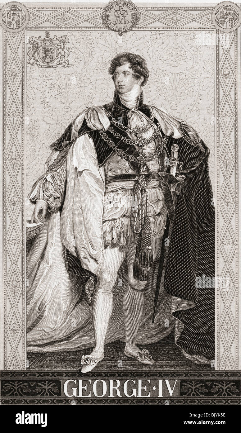 George IV, George Augustus Frederick 1762 – 1830. King of Hanover and the United Kingdom of Great Britain and Ireland - Stock Image