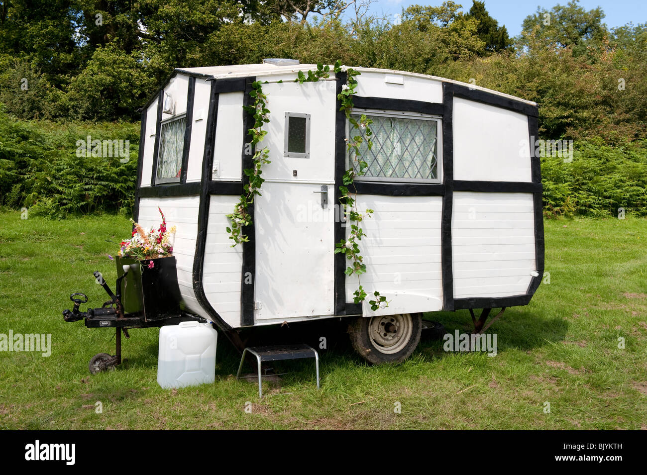 Small Old Black And White Caravan
